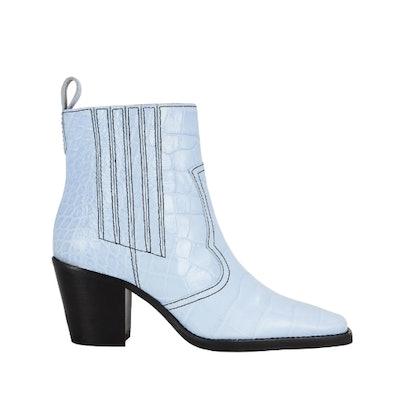 Western Croc-Embossed Sky Blue Boots