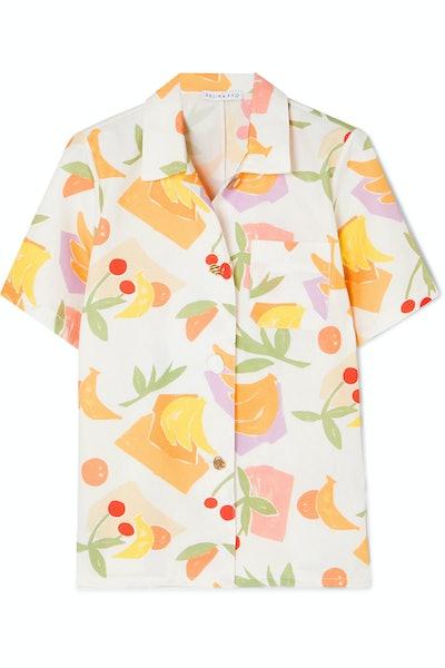 Rejina Pyo Mila Printed Cotton-Blend Shirt
