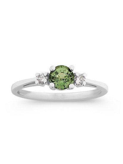 Round Green Sapphire and Diamond Ring