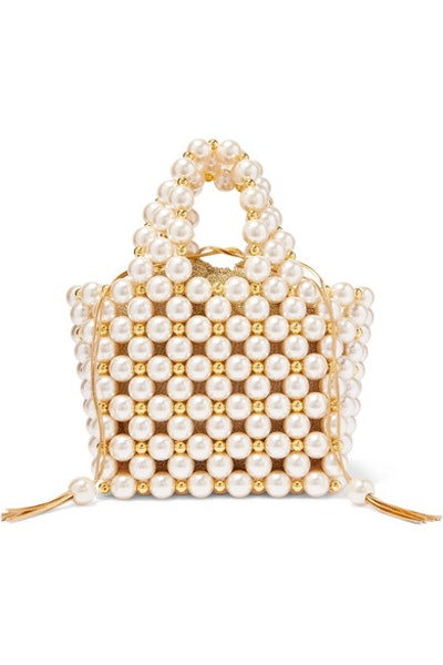 Simi Small Faux Pearl And Gold-Tone Beaded Tote