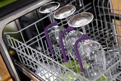 Quirky Stemware Saver Silicone Dishwasher Attachment (4-Pack)