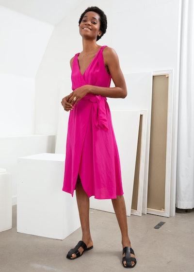 Sleeveless Midi Wrap Dress