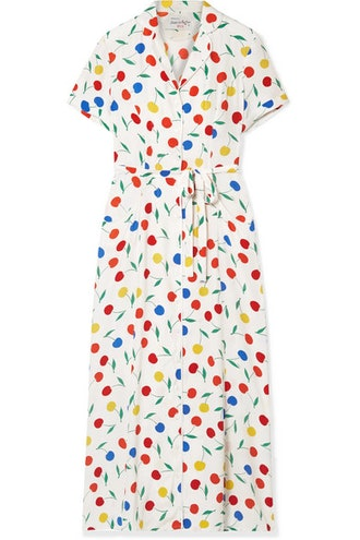 HVN Long Maria Printed Silk Crepe De Chine Dress