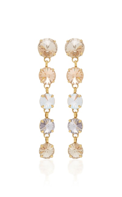 Gold-Plated Brass And Crystal Earrings