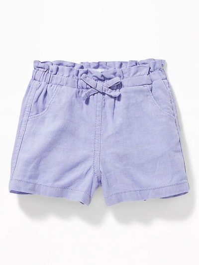 Linen-Blend Paperbag-Waist Shorts for Toddler Girls