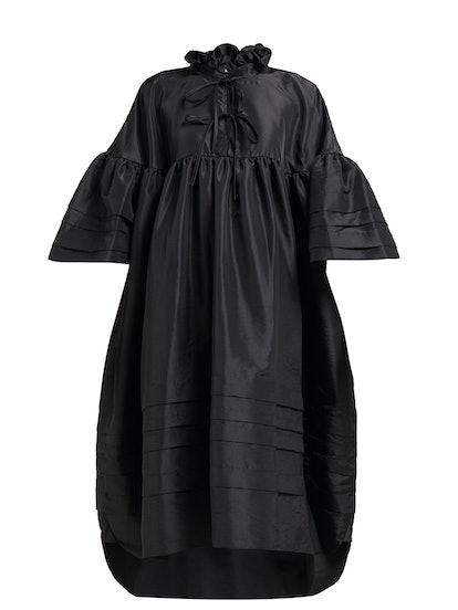 Mabel Ruffle-Neck Pintuck-Trim Taffeta Dress