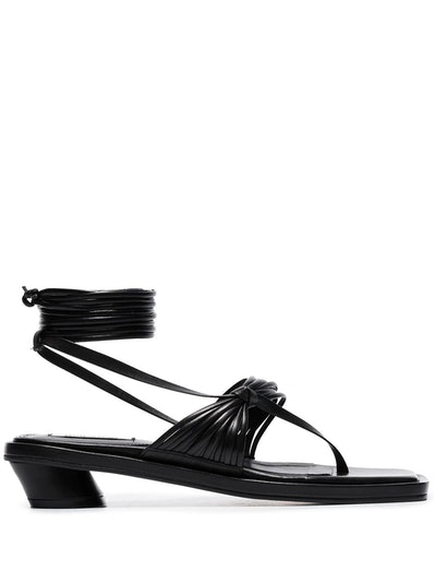 Black 30 Strappy Flat Leather Sandals