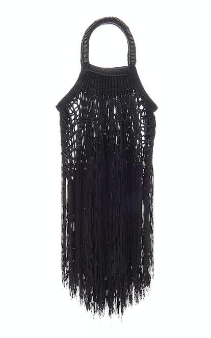 Petit Kouraj Mini Fringed Cotton Bag in Black