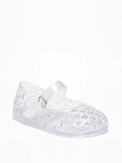 Perforated-Heart Jelly Mary-Jane Flats for Baby