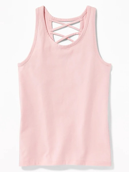 Strappy Cross-Back Jersey Tank for Girls