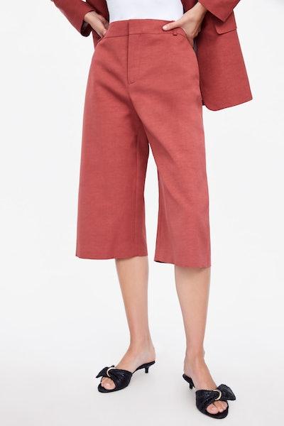 Long Linen Blend Shorts