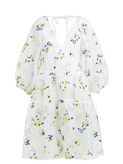 Manila Floral-Embroidered Organza Dress