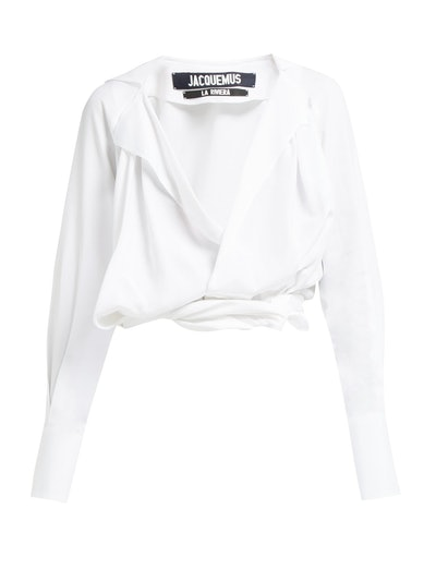 Jacquemus Figari Plunge Knot-Front Top
