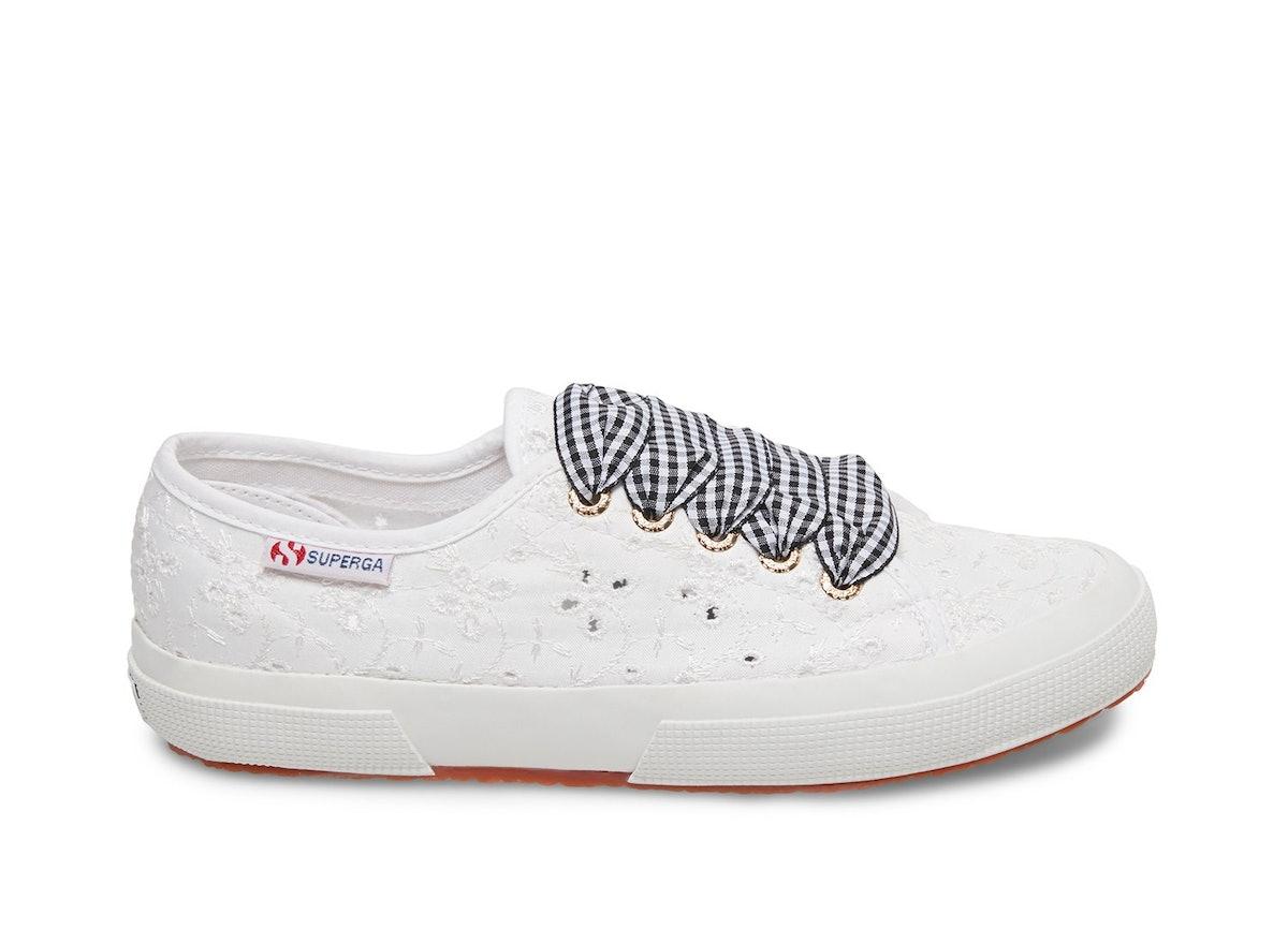 S00G1X0 2750 Sangallo Satin Lace White Fabric Sneaker