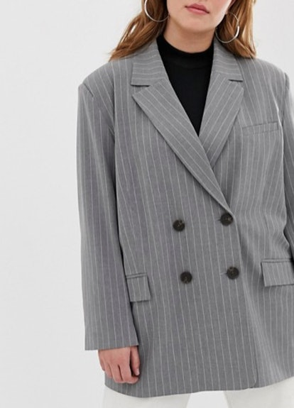 Dad Suit Blazer in Gray Pinstripe