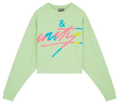 Plus Cropped Sweatshirt with Tour Print