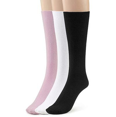 Silky Toes Women's Diabetic Premium Non-Binding Cotton Dress Socks (3 Pairs)