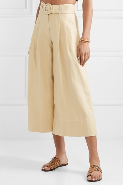 Belted Cropped Linen Culottes