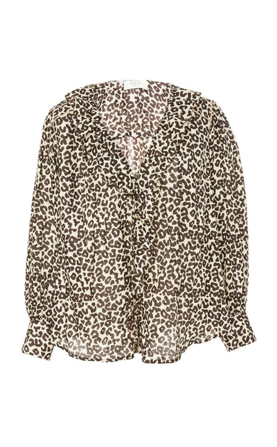 Lottie Leopard-Print Cotton Blouse