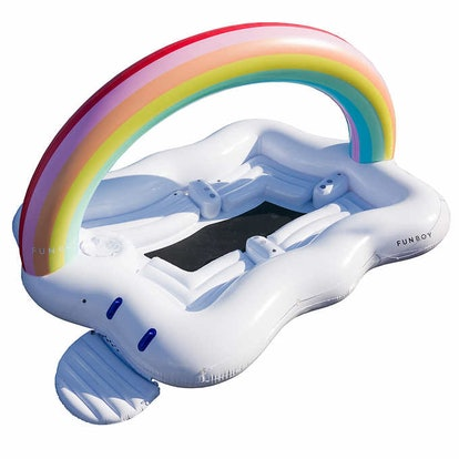 FUNBOY Rainbow Island Float with High-flow Electric Pump