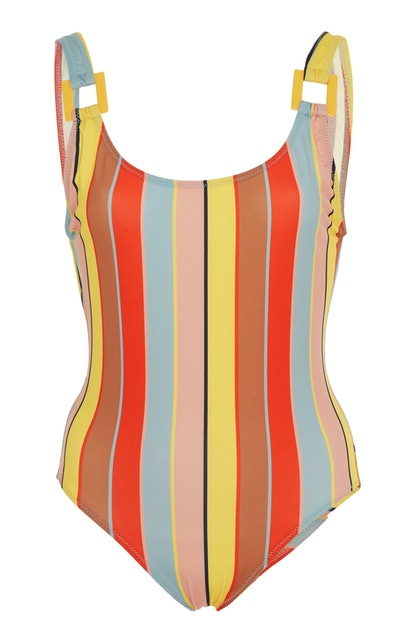 Stella Buckle Striped One-Piece Swimsuit
