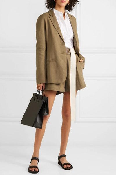 Linen-Blend Twill Blazer