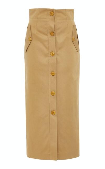 Button-Detailed Cotton-Crepe Midi Skirt