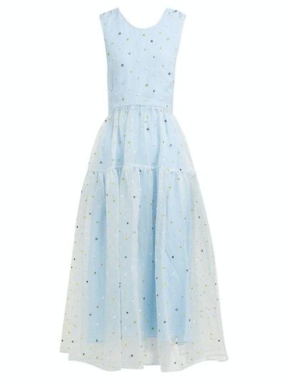 Ruth Floral-Beaded Silk-Organza Dress