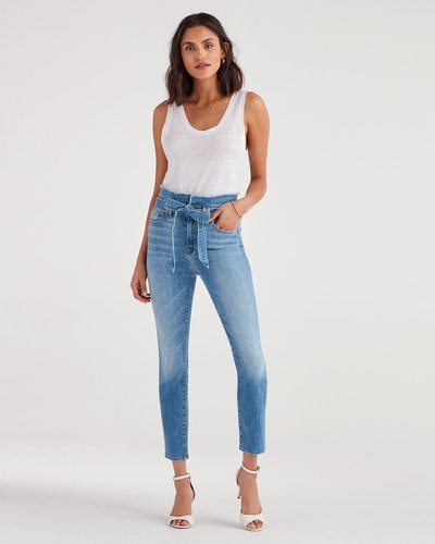 Paperbag Jean in Bright Blue Jay