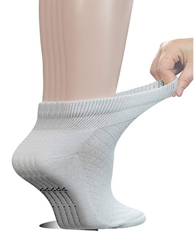 Yomandamor Women's Cotton Ankle Breathable Mesh Diabetic Socks with Seamless Toe, L Size (5 Pairs)