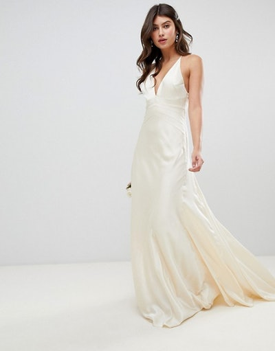 Satin Paneled Wedding Dress With Fishtail
