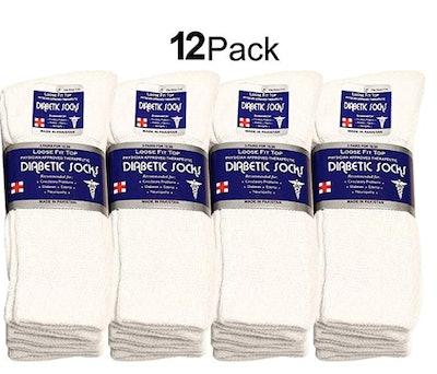 Falari Physicians Approved Diabetic Socks Crew Unisex (12-Pack)