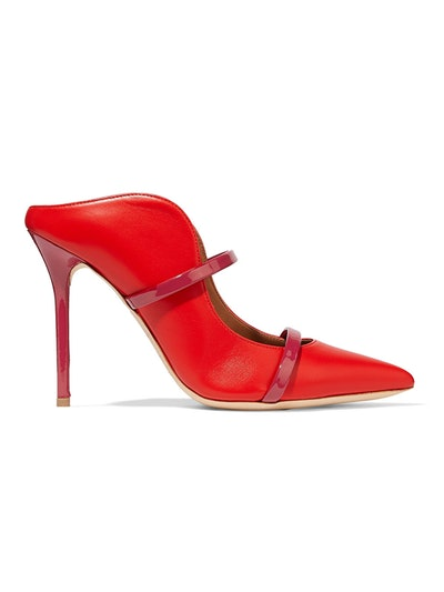 Maureen 100 Patent-Trimmed Leather Mules