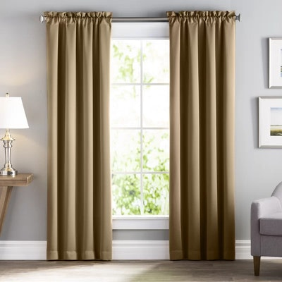 Basics Solid Blackout Rod Pocket Single Curtain Panel