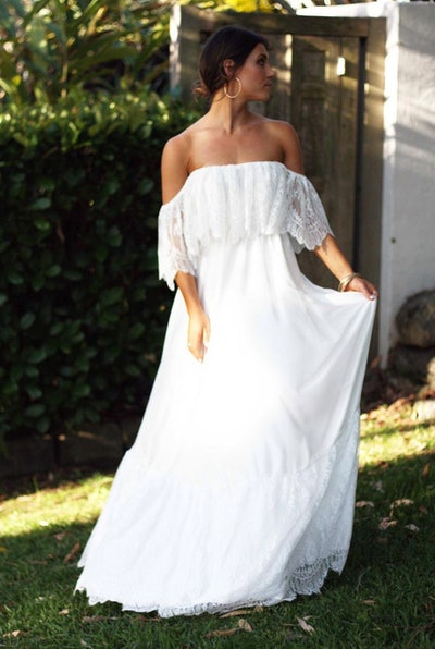 Off the Shoulder Lace Wedding Dress - CLAUDINE Gown