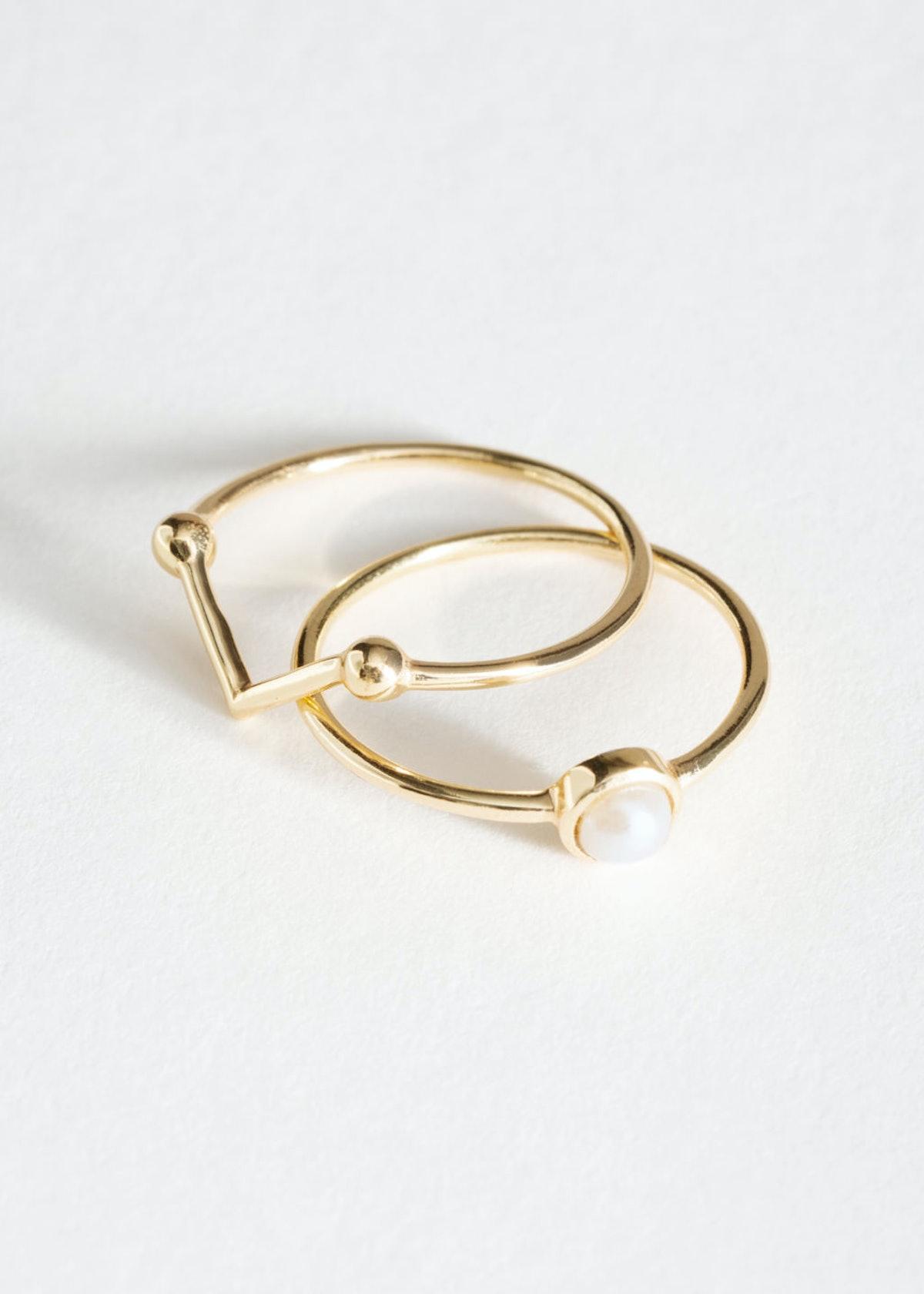 Pearl Frame Ring Set