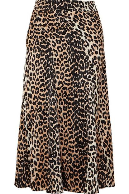 GANNI Leopard-Print Stretch-Silk Skirt