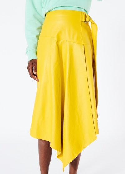 Tissue Leather Asymmetric Drape Skirt