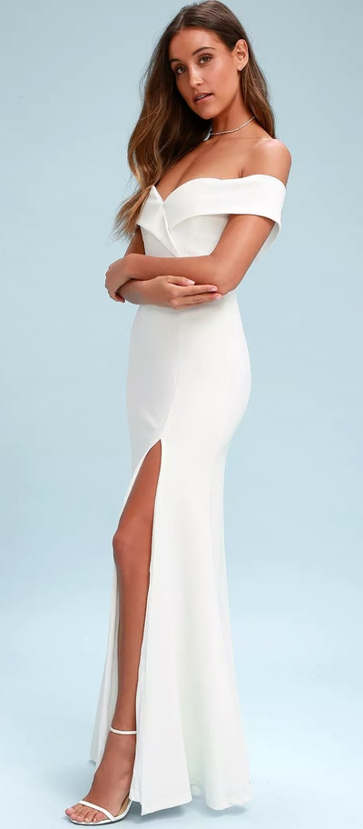 Song Of Love White Off The Shoulder Maxi Dress