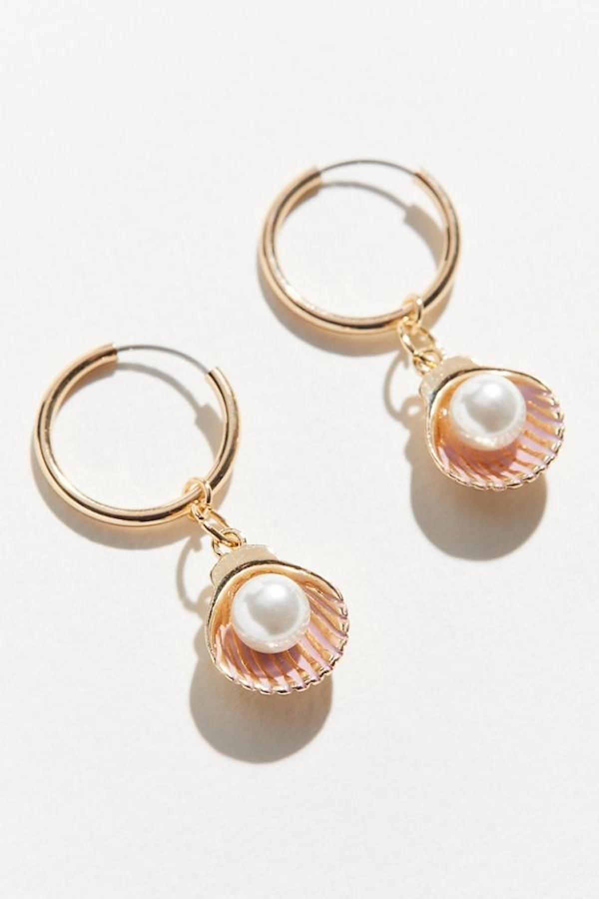 Pearl Charm Hoop Earring