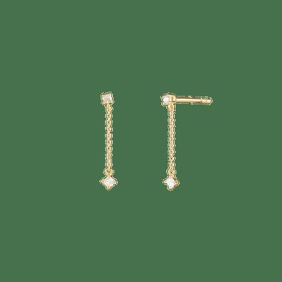 Double Sapphire Chain Earrings