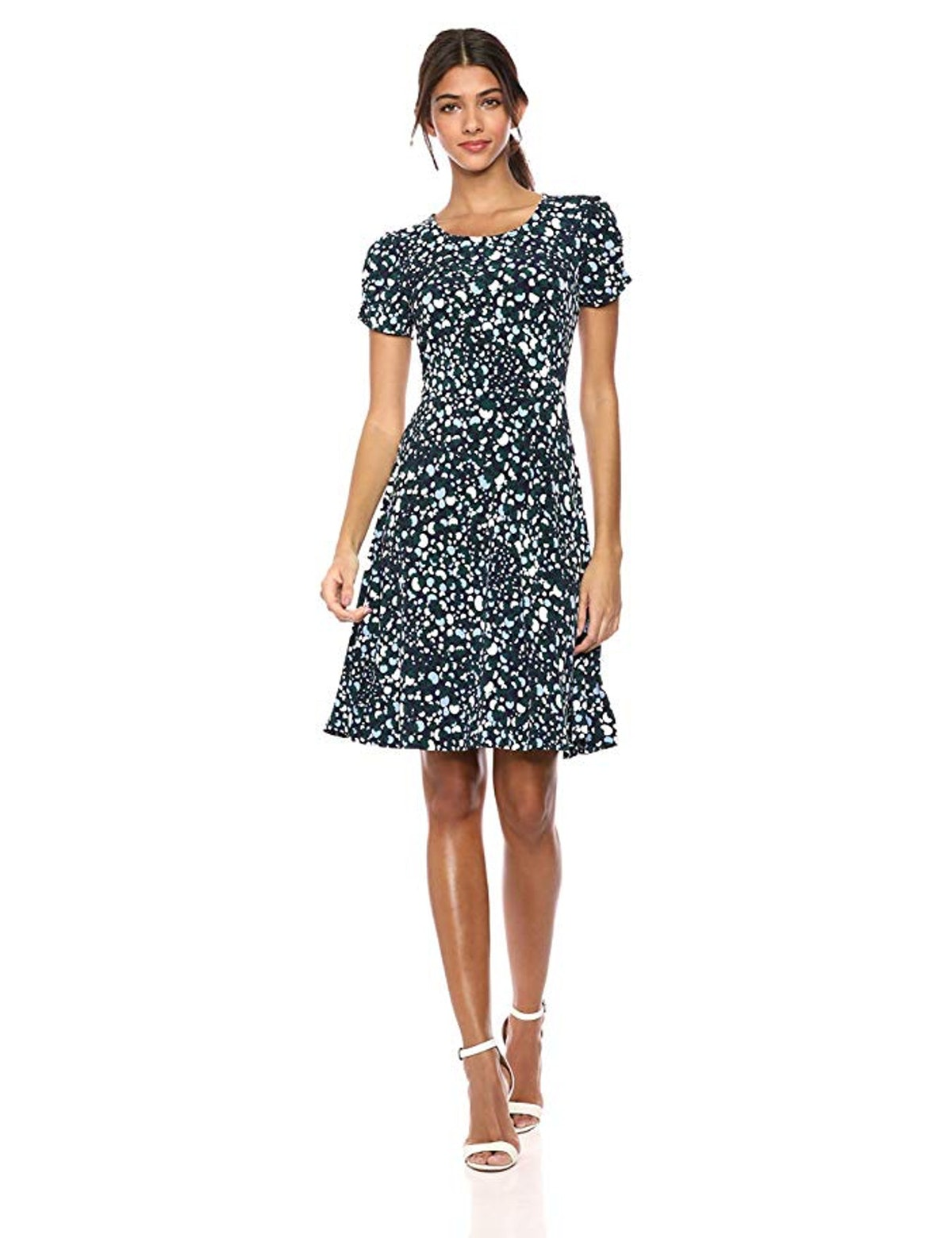 Lark & Ro Women's Gathered Short Sleeve Crew Neck Fit and Flare Dress