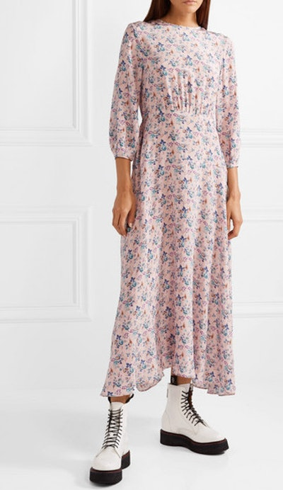 Floral-Print Silk Crepe De Chine Midi Dress