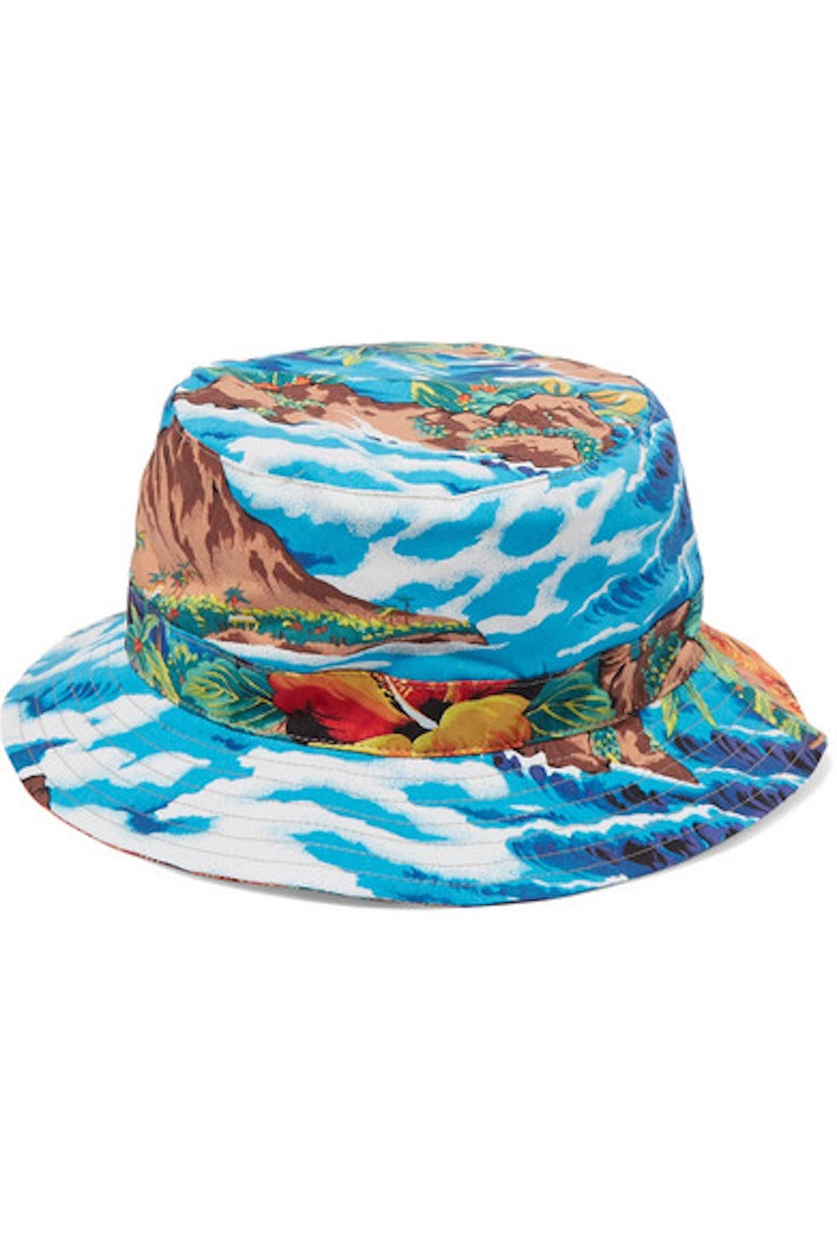 R13 Printed cotton-twill bucket hat