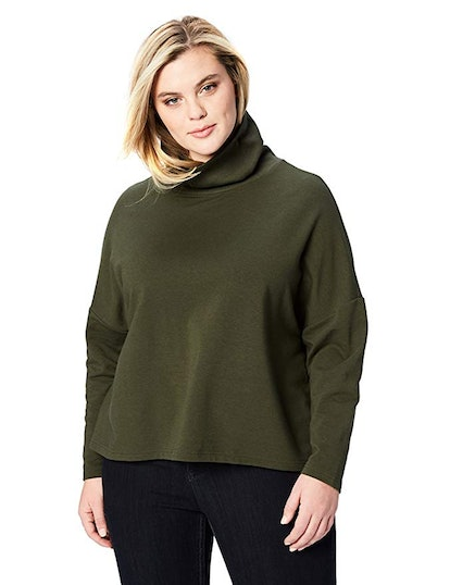Daily Ritual Women's Plus Size Terry Cotton and Modal Funnel Neck Pullover