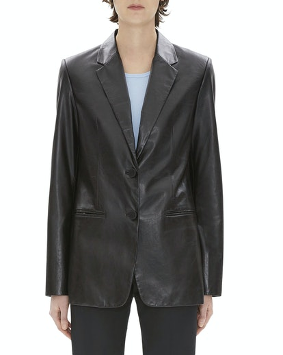 Two-Button Calf Leather Blazer
