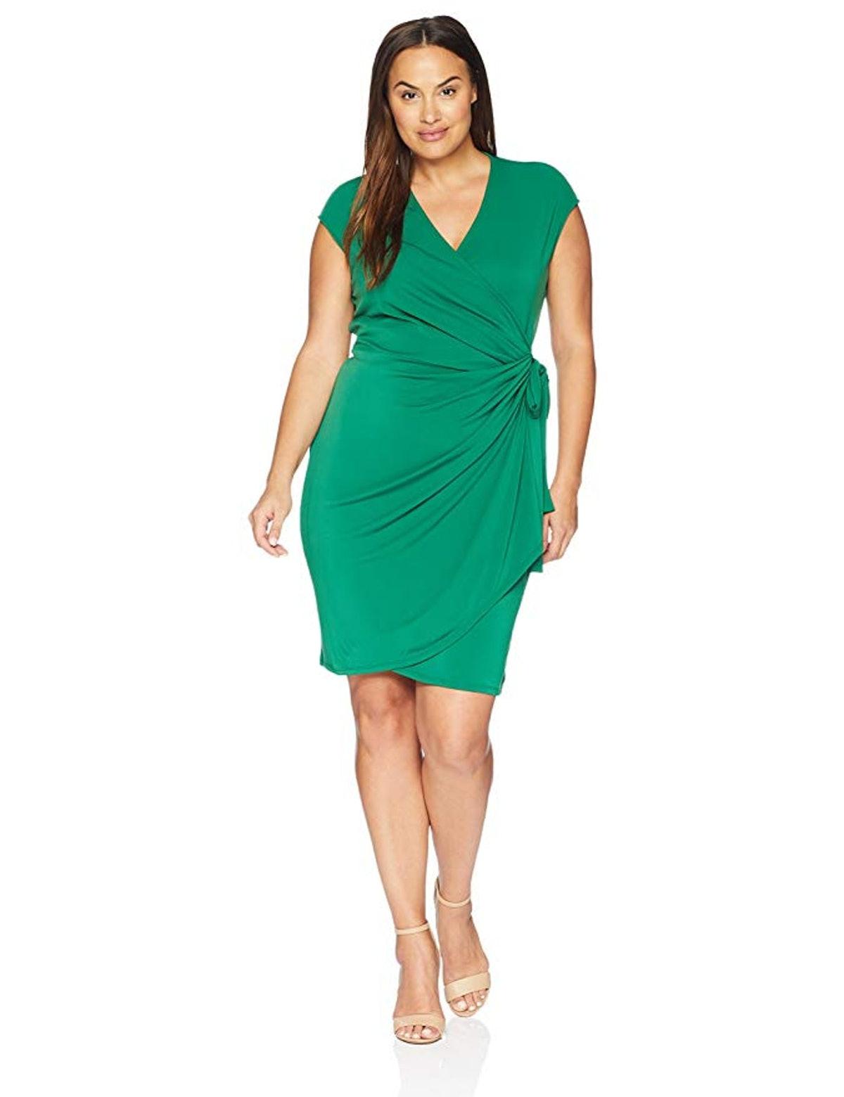 Lark & Ro Women's Plus Size Classic Cap Sleeve Wrap Dress