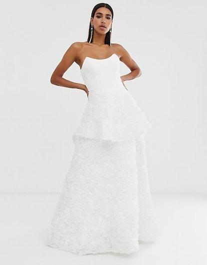 Bariano Square Neck Bridal Dress