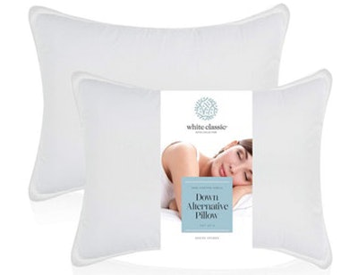 WhiteClassic Down-Alternative Soft Bed Pillows, Standard (2-Pack)