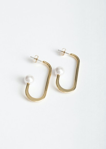 Open Oval Pearl Hoops